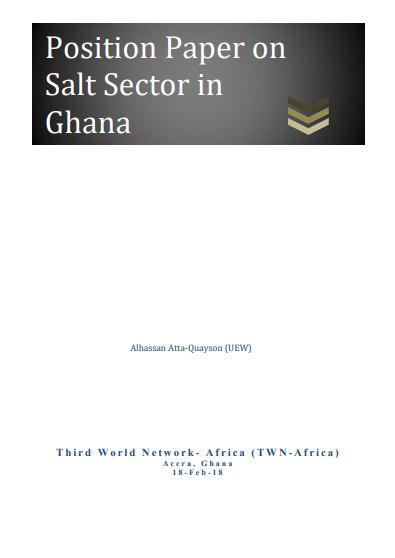 Third World Network (TWN) Position Paper on Salt Sector in Ghana